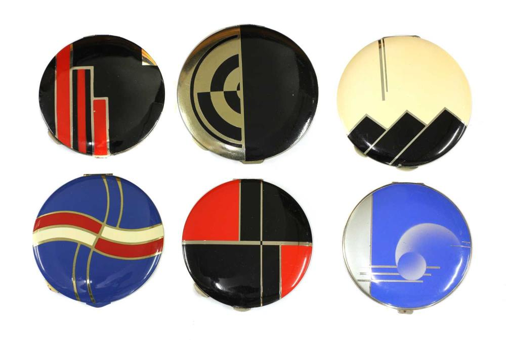 A collection of six Art Deco compacts,