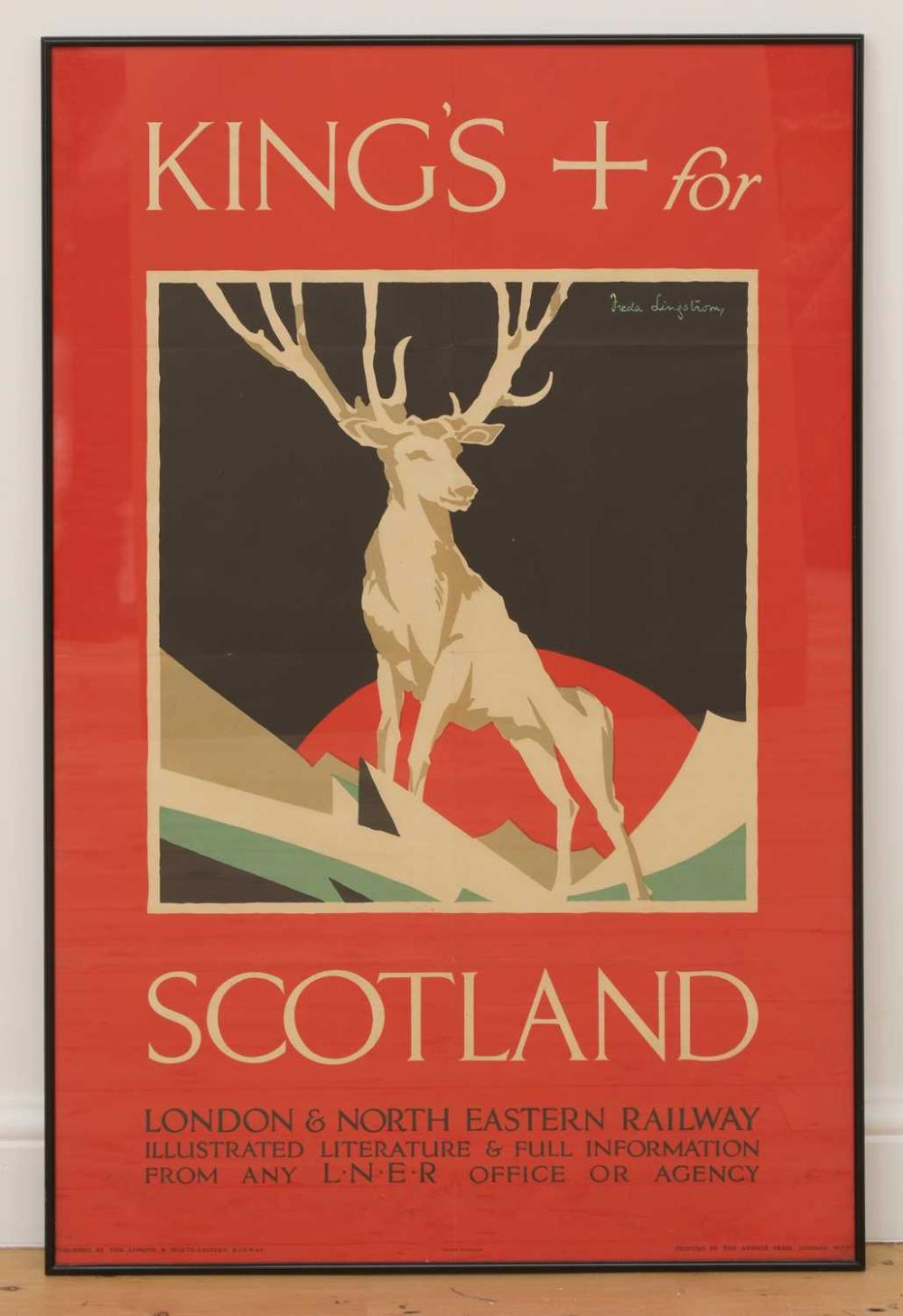 An LNER poster: 'Kings X for Scotland',