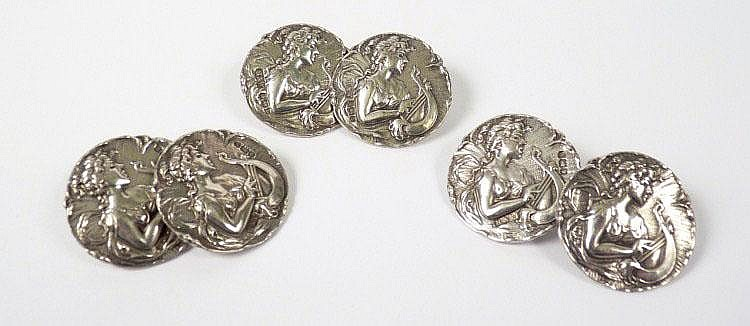 A set of six sterling silver Art Nouveau buttons,