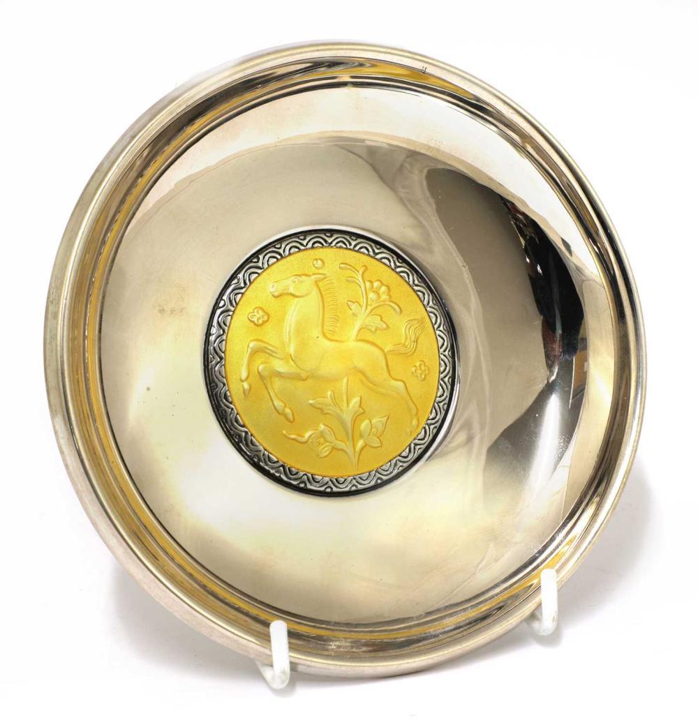 An Art Deco silver dish,