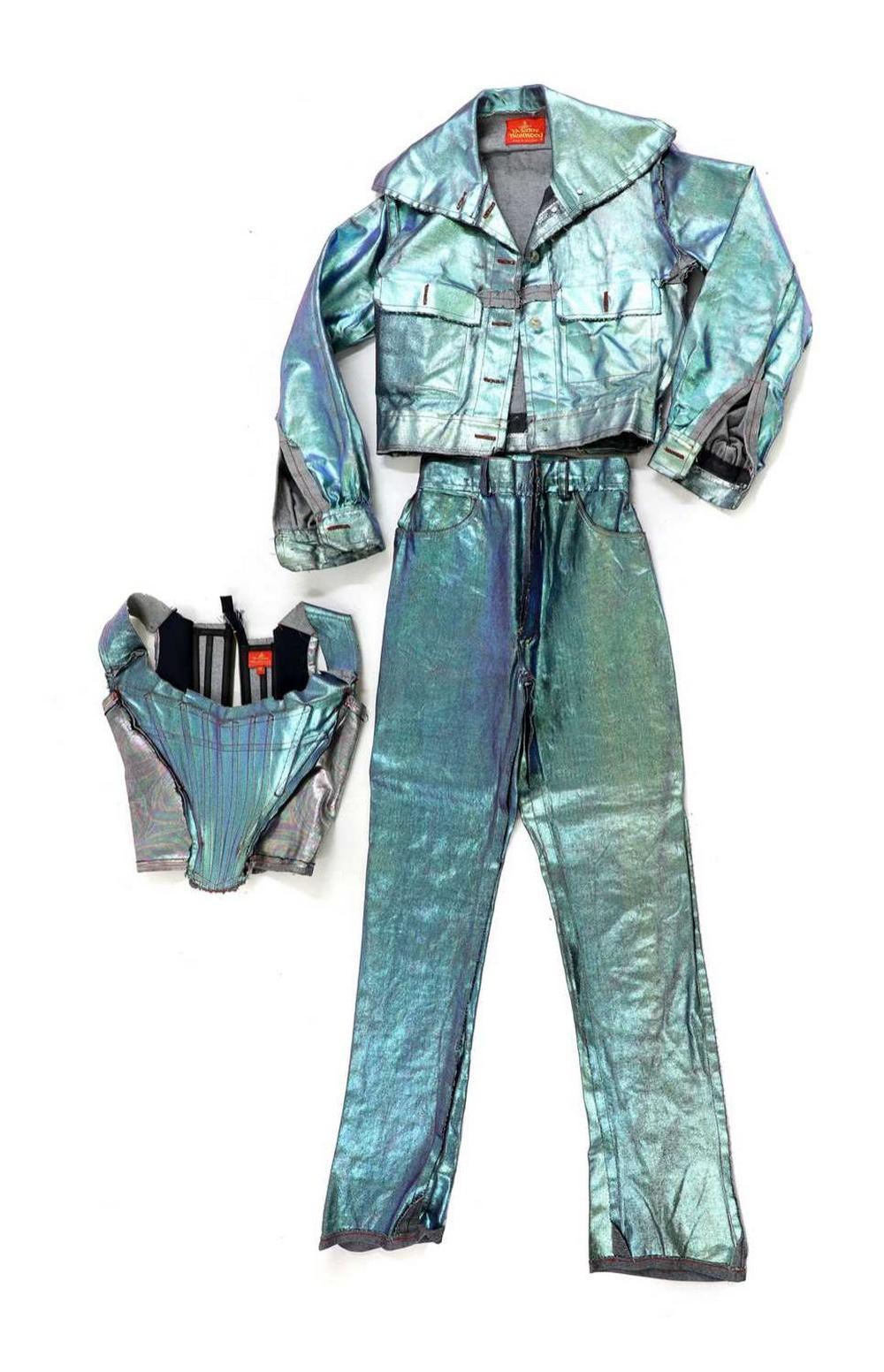 A Vivienne Westwood three-piece lustre denim suit,
