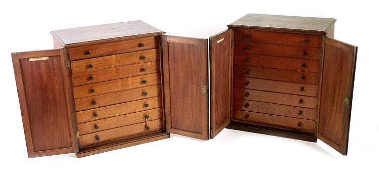 A pair of Victorian mineral specimen cabinets,