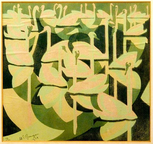 William Greengrass (1896-1970) SWANS Linocut in