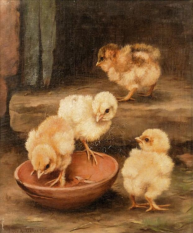 Lucy Ann Leavers (fl.1887 - 1898) CHICKS GATHERED