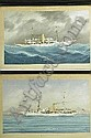 Louis Luca Papaluca (1890-1934) 'SAYONARA N.Y.Y.C'  The American cruiser depicted in the Bay of Naples; and  'SAYONARA N.Y.Y.C' in choppy seas  A pair, both signed and inscribed, gouache, 41.5 x 68cm ( 2), L. Papaluca, Click for value