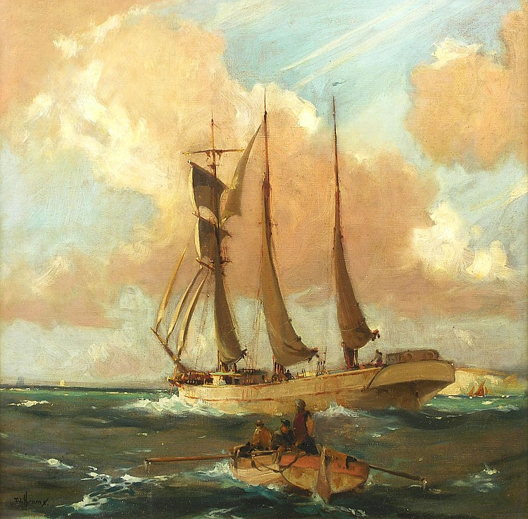 William Hyams (1878-1952) 'SCHOONER PUTTING OUT