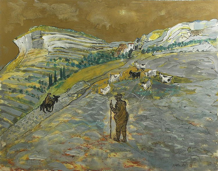 Walter Hoyle (1922-2000) PEASANTS WITH GOATS,