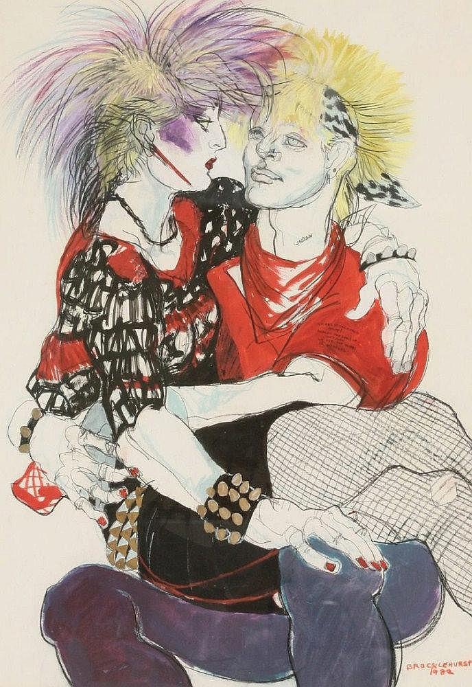 *Jo Brocklehurst (1935-2006), A COUPLE OF PUNKS
