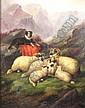 John Barker (1811-1886) GUARDING THE FLOCK Signed,, John Barker, Click for value