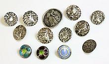 A set of five sterling silver Art Nouveau buttons,