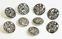 A set of six sterling silver Art Nouveau pierced
