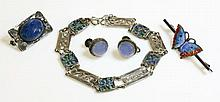 A silver and enamel Arts and Crafts bracelet,