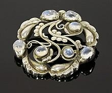 A Danish silver moonstone set brooch, by Georg