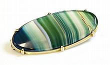 A gold banded agate brooch, c.1900, with an