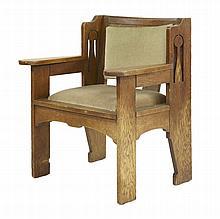 An Arts and Crafts oak 'Ethelbert' armchair,