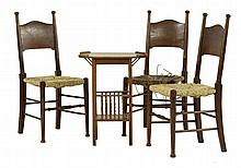 Three Arts and Crafts oak single chairs, by