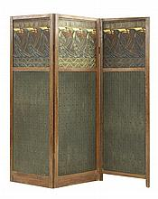An Arts and Crafts oak three-fold screen, with