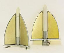An Art Deco chrome hanging ceiling light, the