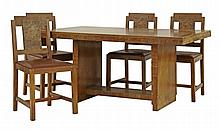 An Art Deco walnut dining room suite, comprising:
