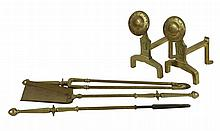 A set of Arts and Crafts brass fire tools, 69cm