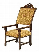 A Victorian oak 'Bishop's' chair, with a shaped