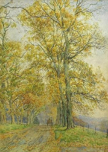 George Moore Henton COUNTRY LANE, WITH HORSE AND CART, Signed and dated 1885, watercolour 38 x 27cm