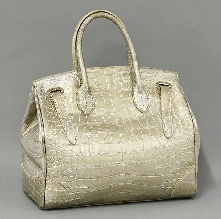 37867bd18716 clearance a ralph lauren alligator skin metallic gold ricky bag in 22212  9642a
