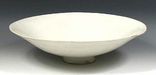 James Tower (1919-1988) a shallow tin glazed bowl, Sgraffito signature and dated '80, 37.5cm