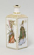 A Yokohama square Sake Flask, late 19th century,