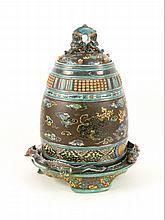 A rare Kutani Mizusashi, mid 19th century, of