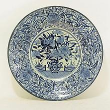 An Arita large Dish, c.1690, painted in underglaze