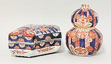 An Imari Box and Cover, c.1880, of folded paper