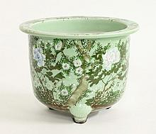 A large pea-green Seto Jardinière, c.1900, the