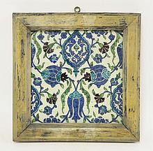 A good Iznik Tile, 1574-75, painted in blue,