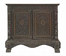 A carved and pierced blackwood Cabinet c.1890,