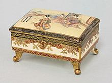 A Kyoto 'Satsuma' Box and Cover, on scroll feet,