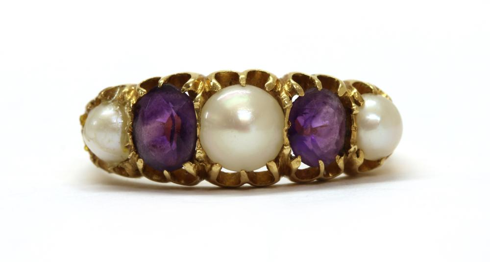 A gold split pearl and amethyst five stone ring,