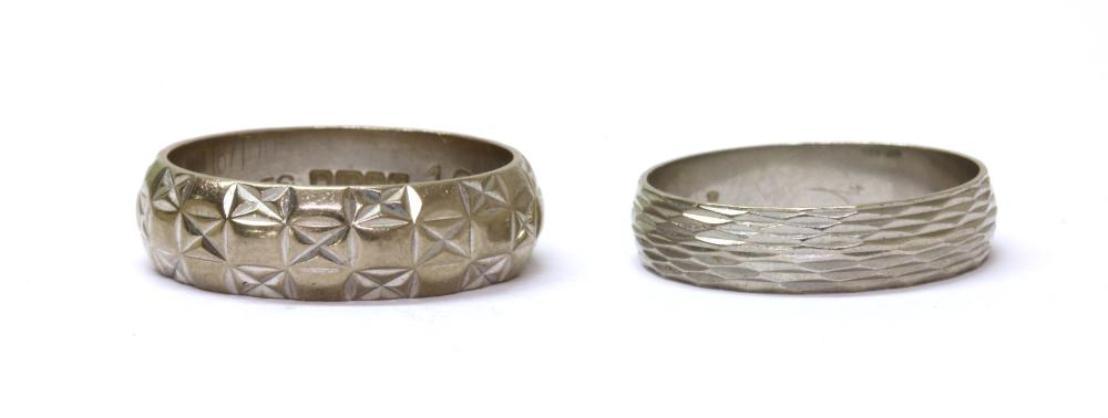 A platinum patterned wedding ring,
