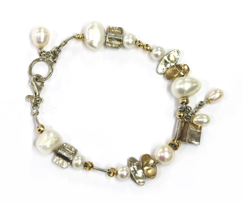 A silver and gold, cultured freshwater pearl bracelet, by Talma Keshet,