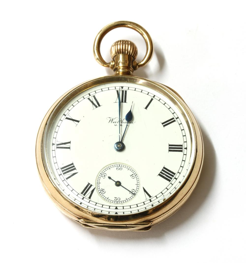A 9ct gold Waltham top wind open-faced pocket watch,