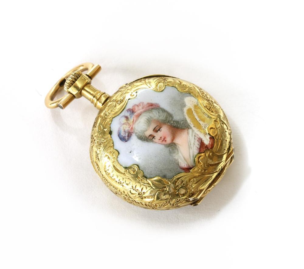 A Continental gold pin set enamel fob watch,