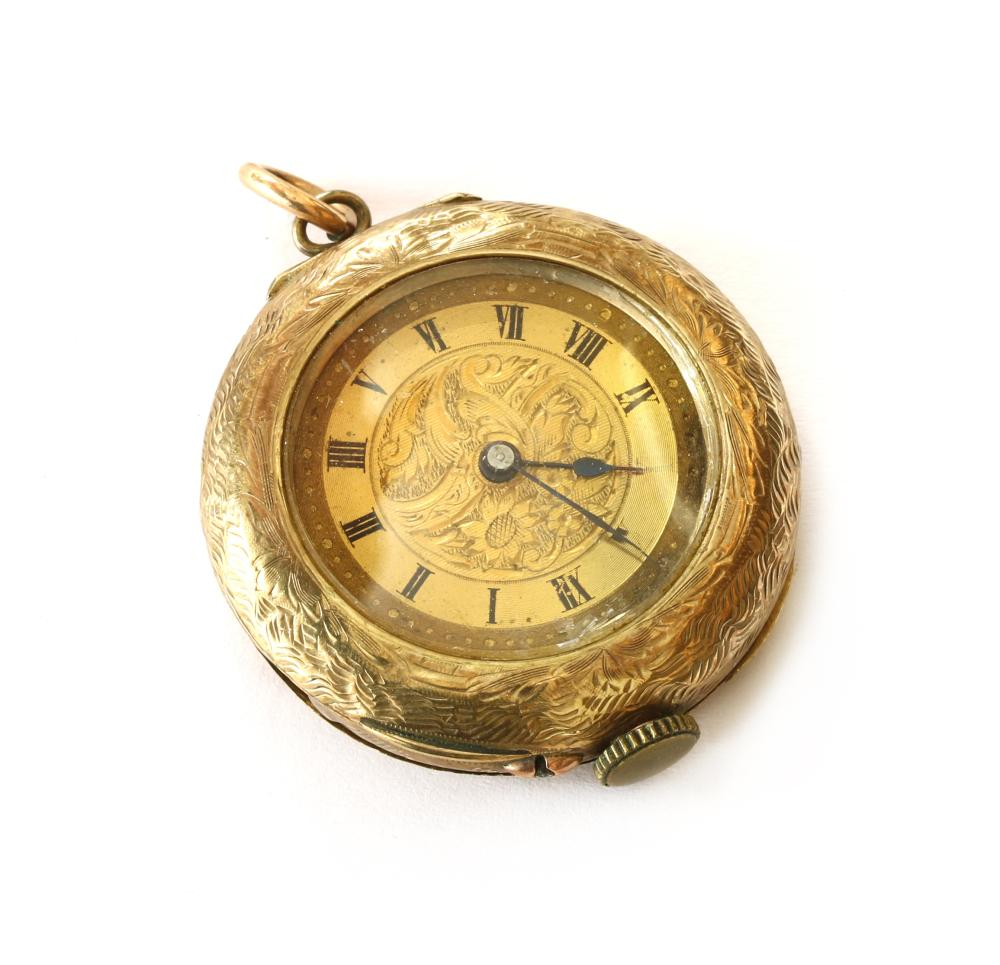 A 9ct gold open-faced pin set fob watch,