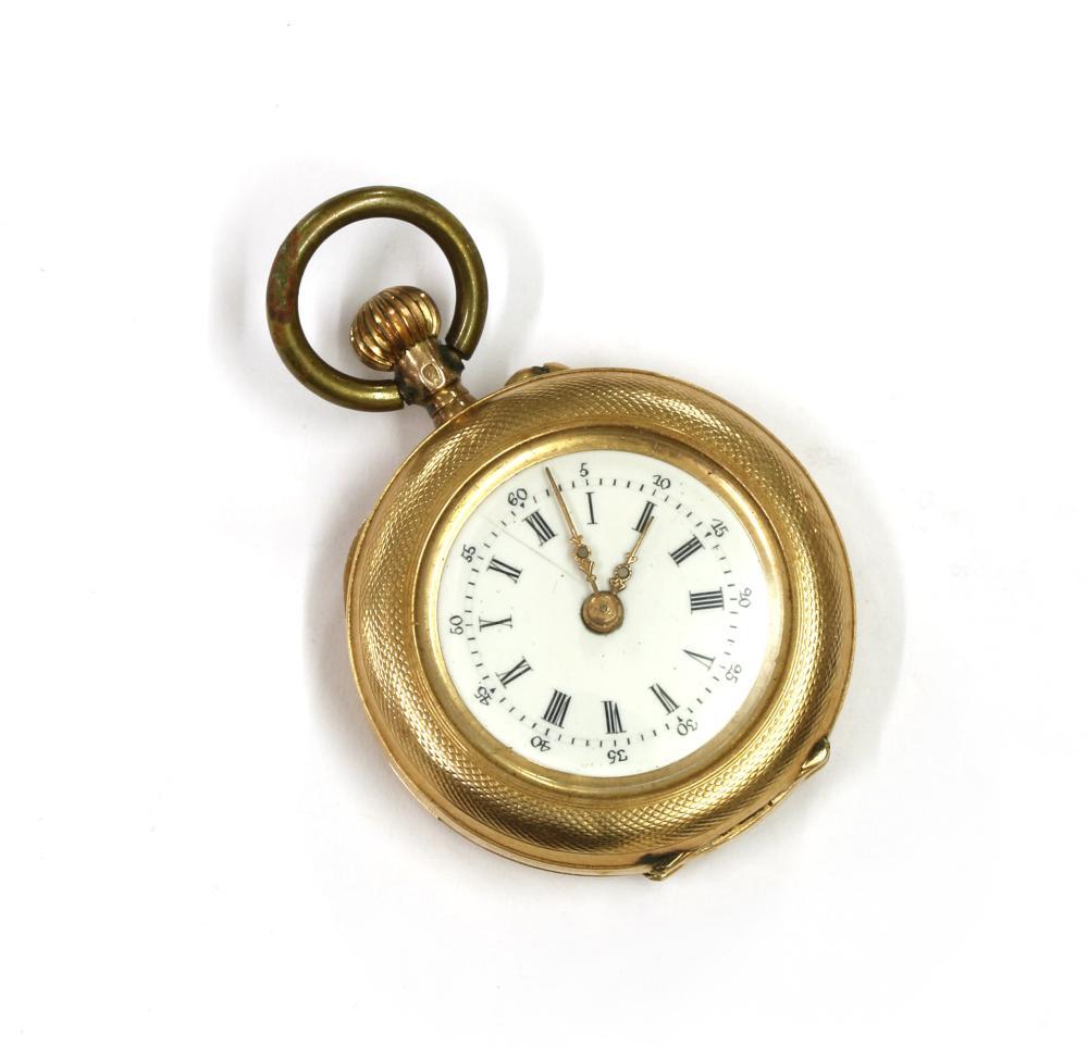 A gold pin set fob watch,