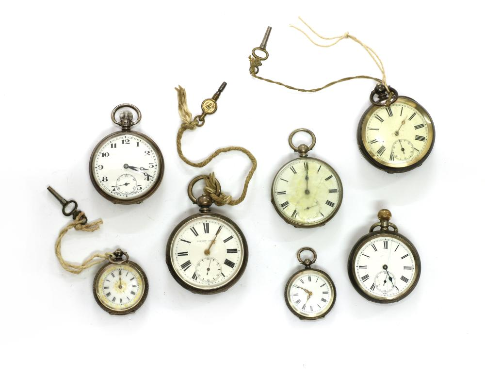 A quantity of silver pocket and fob watches,