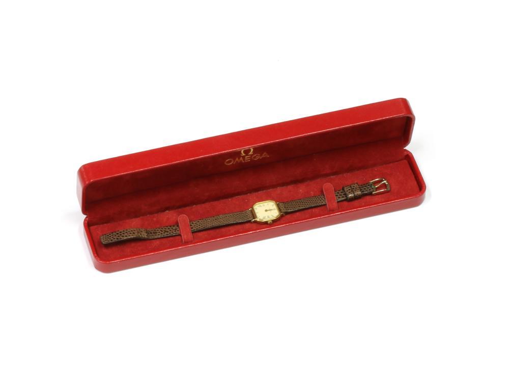A ladies' 9ct gold Omega quartz strap watch,