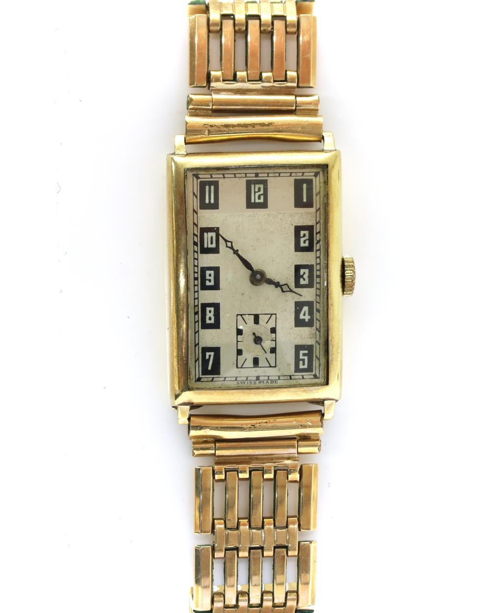 An Art Deco 9ct gold mechanical wristwatch,