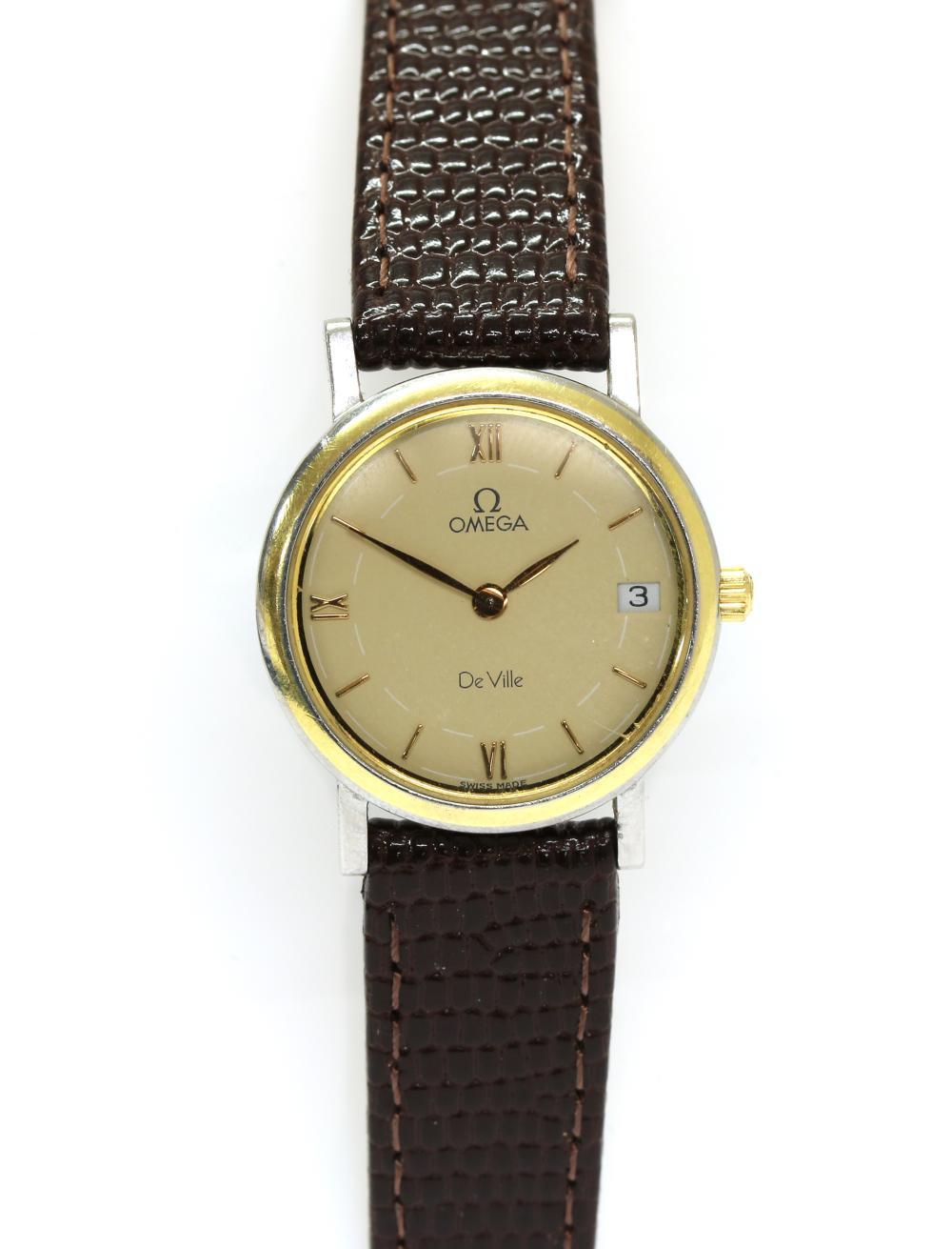 A ladies' stainless steel Omega 'De Ville' quartz strap watch, c.1991,