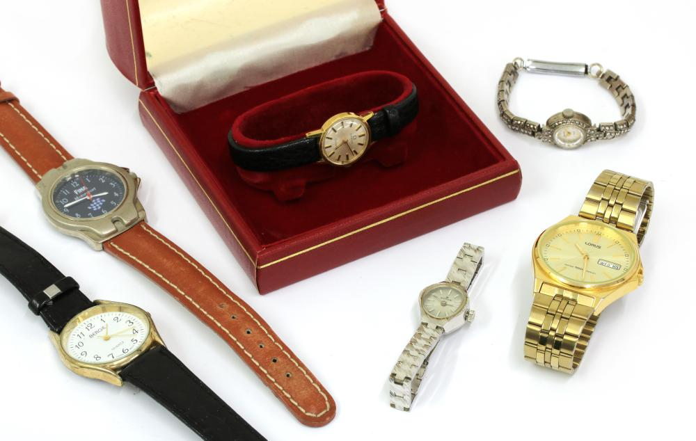 A ladies' gold-plated Omega mechanical strap watch,