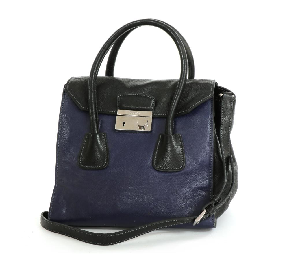 A Prada blue and black leather flap bag