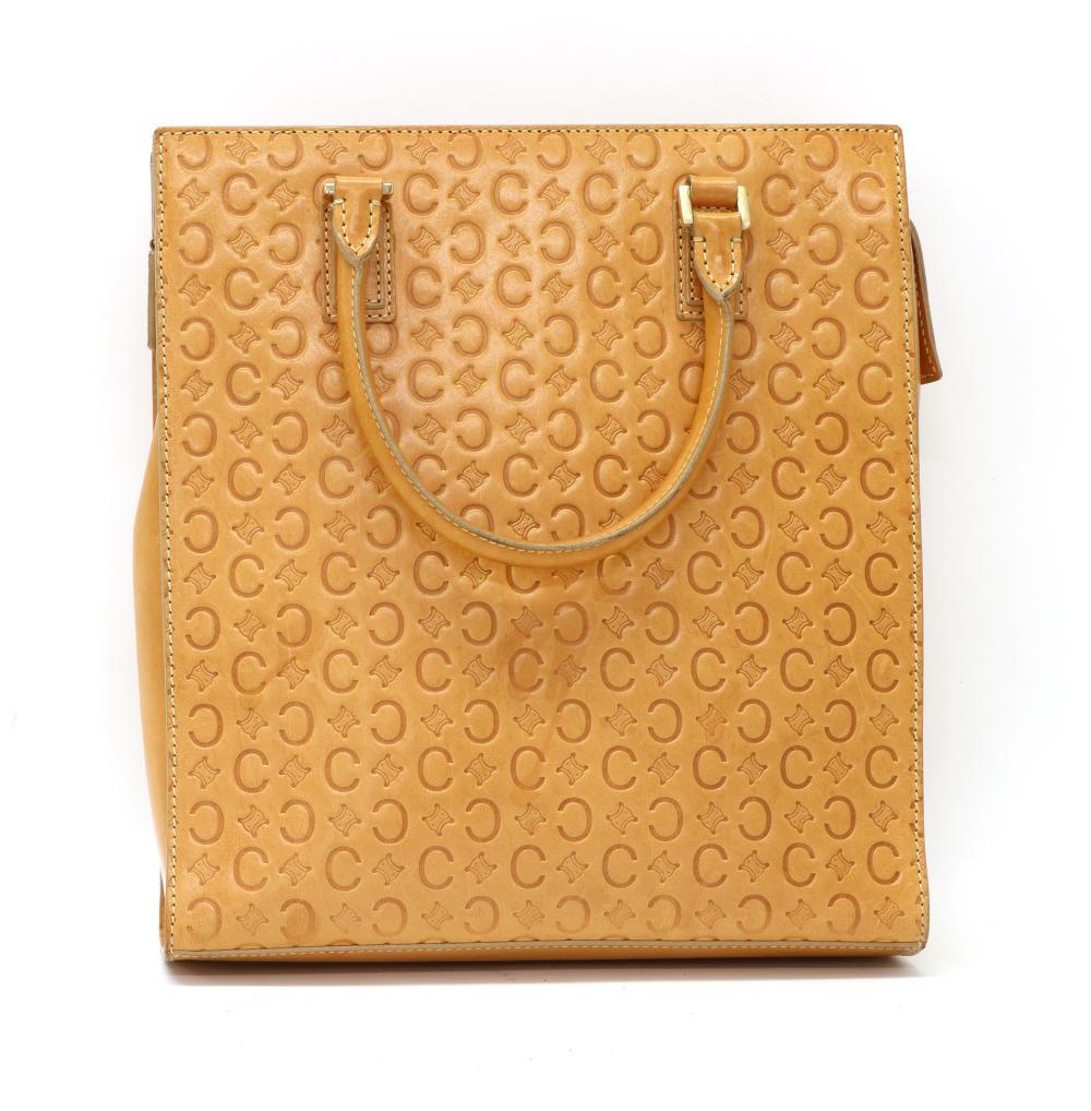 A Celine tan leather blason pattern handbag,